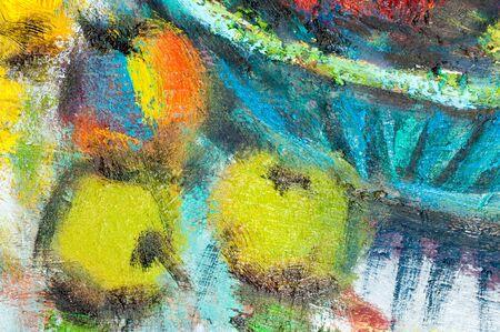 Tatarstan M. Sh Khaziev의 영예로운 예술가. 질감, 배경. 아직도 인생 호박, 사과, 포도 및 차, 그리기 그림, 페인팅, 아직도 인생