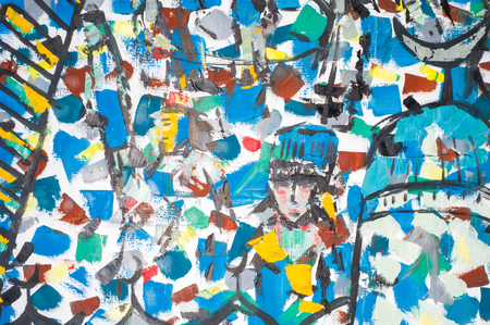 honored: Ethnography, M.Sh. Khaziev. Honored Artist of Tatarstan. The picture painted in oils. The painting shows a large crowd of people. crowd, abstract, old ortress. Bulgars Editorial