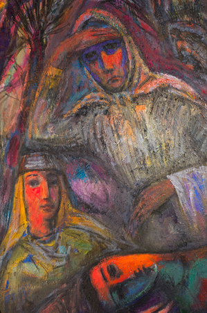 honored: Ethnography, M.Sh. Khaziev. Honored Artist of Tatarstan. The picture painted in oils. The war, the fall of 1943 images on a picture. Females gazing into the distance in trouble,