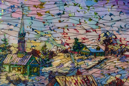 horse sleigh: Ethnography, painting under glass, foil Brilliant. Scene from village life. Russia Tatarstan. Sleigh with horse, mosque, houses, rural way of life Editorial
