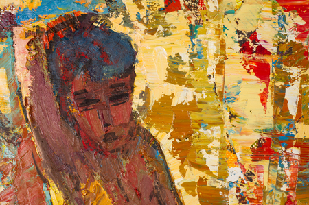 artistic nude: Ethnography, M.Sh. Khaziev. Honored Artist of Tatarstan. The picture painted in oils. nude beach, nude woman. beautiful female body.