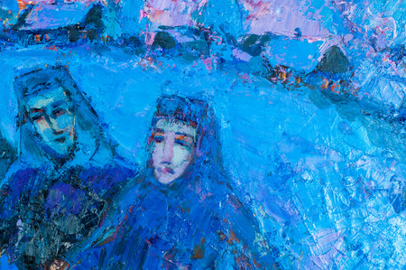 honored: Khaziev Madiyar Sharipovich Honored Artist of Tatarstan. picture painted on canvas with oil paints. painted portrait of a girl