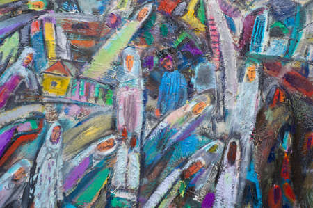 not painted: Ethnography, M.Sh. Khaziev. Honored Artist of Tatarstan. The picture painted in oils. People are elongated, as if not significant, as the spirit of the city street.