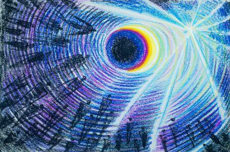 ser humano: un cuadro dibujado con lápices de colores. La luz del flash. almas de las personas que buscan la luz. Las personas son personas. la parte espiritual o inmaterial de un ser humano o animal, considerado como inmortal.