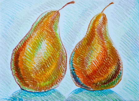 a picture drawn with crayons, pears. a yellowish- or brownish-green edible fruit that is typically narrow at the stalk and wider toward the base, with sweet, slightly gritty flesh. Stock Photo
