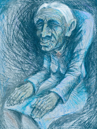 longing: Figure crayons, old age. hunched old woman. longing for a past youth. without source Stock Photo