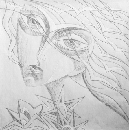 snow queen: pencil drawing on white paper, the bird girl. Fantasy portrait of a girl