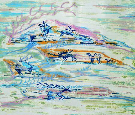peinture rupestre: image peint avec des peintures � l'huile. Roche peinture. les murs des cavernes peintes par les peuples anciens.