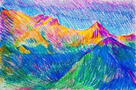 a picture drawn with crayons. Landscape with a mountain river Stock Photo