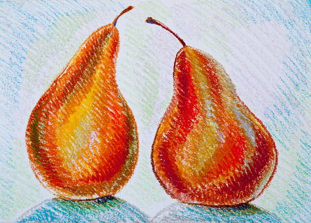 gritty: a picture drawn with crayons, pears. a yellowish- or brownish-green edible fruit that is typically narrow at the stalk and wider toward the base, with sweet, slightly gritty flesh. Stock Photo