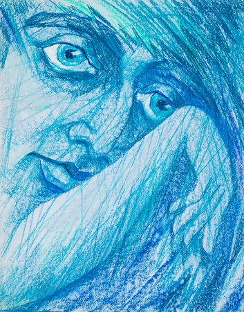 outstretched hand: a picture drawn with crayons. portrait of a woman with outstretched hand Stock Photo
