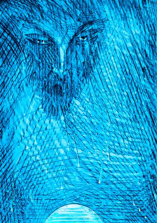 watchman: Figure crayons, Night watchman, Devil Stock Photo