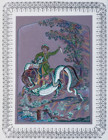 asian warrior: drawing colored wax crayons. Central Asian warrior fight with a dragon. Arab tales. Folklore Website thousand and one nights.