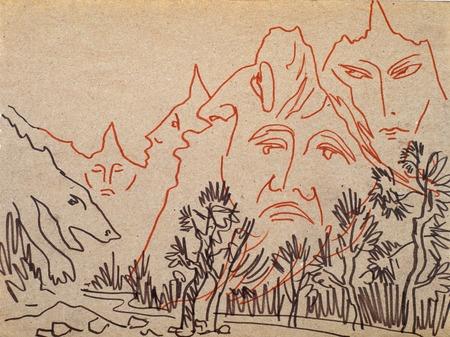 Abbildung Filzschreiber auf dem Papier. Berge mit dem Gesicht von Gesichtern