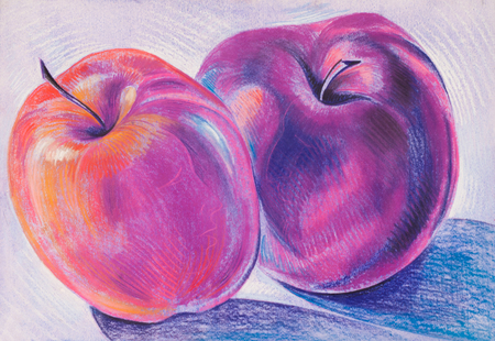 fruit plate: a picture drawn with crayons. two red apples, very tasty. the round fruit of a tree of the rose family, which typically has thin red or green skin and crisp flesh. Many varieties have been developed as dessert or cooking fruit or for making cider.