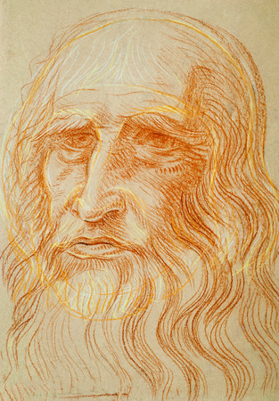 drawing colored wax crayons. Two Strength, Leonardo da Vinci. Italian painter, scientist, and engineer. His paintings are notable for their use of the technique of sfumato and include The Virgin