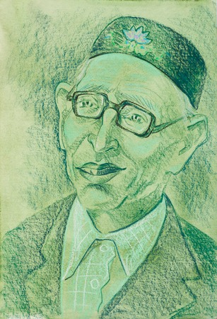 pictorial art: Wax crayons, wax crayons Drawing, Ethnography, portrait of a man, Khiyam Aby (aby word means: an appeal to the man to the older, often in combination with its own name)
