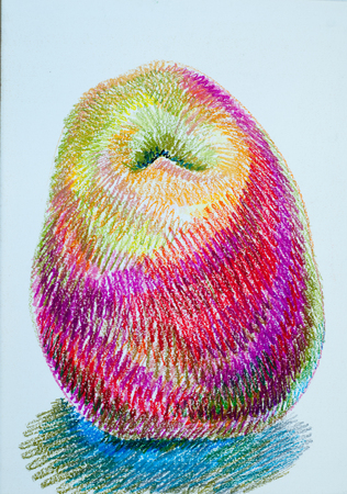 green been: a picture drawn with crayons. two red apples, very tasty. the round fruit of a tree of the rose family, which typically has thin red or green skin and crisp flesh. Many varieties have been developed as dessert or cooking fruit or for making cider.