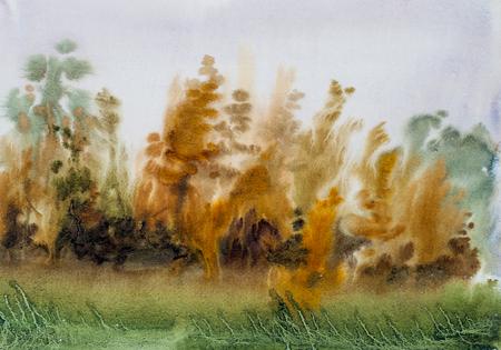 Drawing watercolor, autumn rain