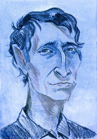 coarse: a picture drawn with crayons. portrait of a man. an adult human male.