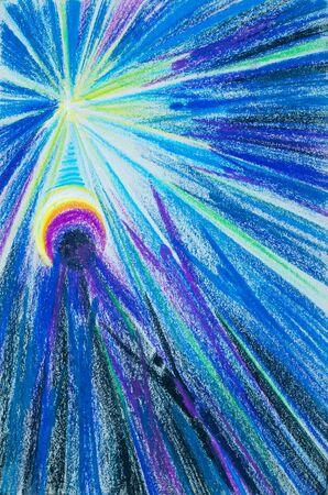 ser humano: un cuadro dibujado con l�pices de colores. La luz del flash. almas de las personas que buscan la luz. Las personas son personas. la parte espiritual o inmaterial de un ser humano o animal, considerado como inmortal.