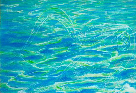 sea creature: drawing colored wax crayons. Mermaid in the water. woman in water. Silhouette of a woman in water. a fictitious or mythical half-human sea creature Stock Photo