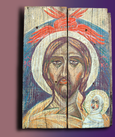 intercede: Figure oil painting, Jesus Christ with a book of instruction for the people