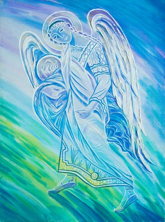weeping angel: picture painted in oils. Angel. a spiritual being believed to act as an attendant, agent, or messenger of God, conventionally represented in human form with wings and a long robe. Stock Photo