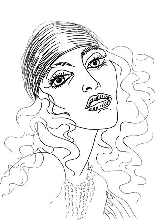 illustrated: Pencil drawing on white paper. Portrait of a woman Stock Photo