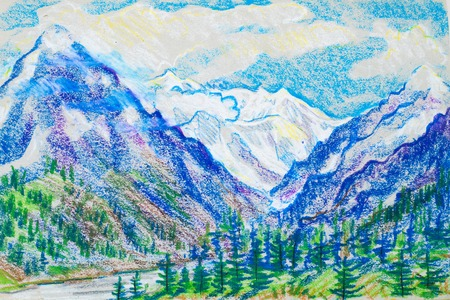 hand pencil: a picture drawn with crayons. Landscape with a mountain river Stock Photo