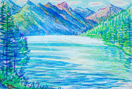 coarse: a picture drawn with crayons. Landscape with mountain lake Stock Photo