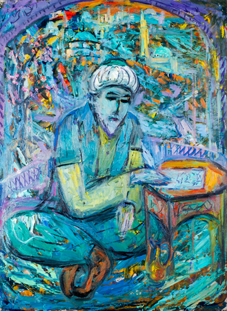 ethnography: Ethnography, M.Sh. Khaziev. artist picture painted in oils. old man reads the Koran at prayer