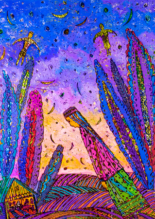 application of colored foil, Oriental woman, the Arab woman, fairy trees, dark night,