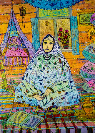 application of colored foil, Oriental woman, the Arab woman, an old house, the baby in the crib