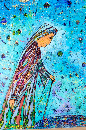application of colored foil, Oriental woman, the Arab woman, elderly woman