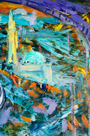 Ethnography, M.Sh. Khaziev. artist picture painted in oils. background texture units. Scenes from the figure. abstract drawing Colorful brushstrokes in oil on canvas Stock Photo