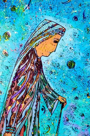 application of colored foil, Oriental woman, the Arab woman, elderly woman