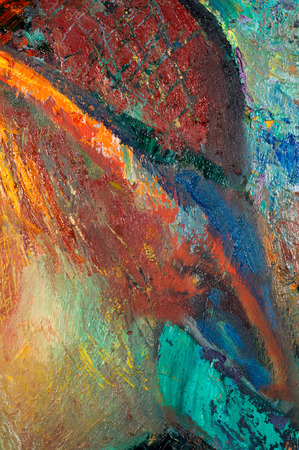 macro artists palette, texture mixed oil paints in different colors and saturation studio. abstract impasto cracked painting - acrylic und oil paints mixed media grunge Stock Photo