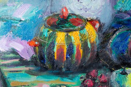 ethnography: Ethnography, M.Sh. Khaziev. artist picture painted in oils. Natbrmort apples, pomegranates, pears, grapes, vase