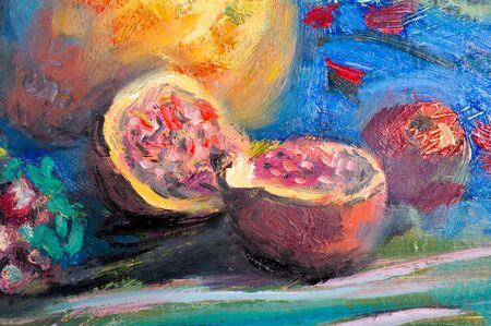 Ethnography, M.Sh. Khaziev. artist picture painted in oils. Natbrmort apples, pomegranates, pears, grapes, vase