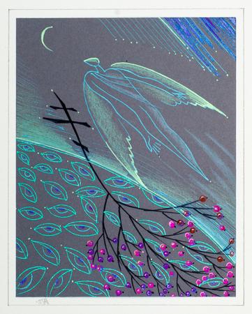 ser humano: un cuadro dibujado con lápices de colores. el viaje del alma humana. la parte espiritual o inmaterial de un ser humano, considerado como inmortal. Foto de archivo