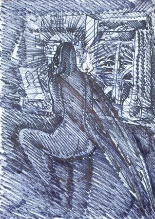 servant: a picture drawn with crayons. Night Angel. Supernatural being a servant of God and his messenger to the people Stock Photo