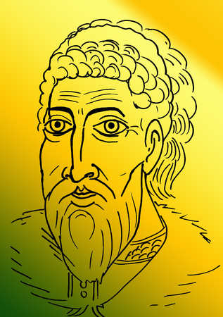 picture drawn pencil portrait of a man Ivan 3. Rules of Russia in 1462 -1505 year. Portrait of a man Stock Photo