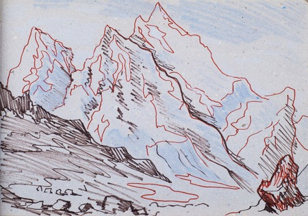 rugged: a picture drawn in pencil, mountains, angels fly at dawn the sun. in the mountains, high mountains, rugged mountains, range of mountains