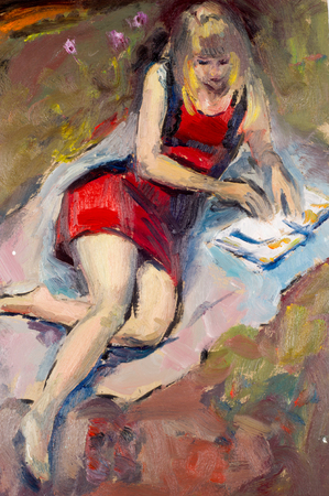 Ethnography, M.Sh. Khaziev. artist picture painted in oils. female portrait. a painting, drawing, girl posing artist, a person who produces paintings or drawings as a profession or hobby