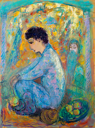 Ethnography, M.Sh. Khaziev. artist picture painted in oils. Arab boy. Youth in the Arab world. of or relating to Arabia and the people of Arabia.