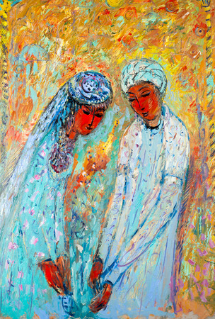 Ethnography, M.Sh. Khaziev. artist picture painted in oils. Oriental beauty, a combination of qualities, such as shape, color, or form, that pleases the aesthetic senses, especially the sight.