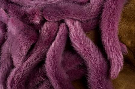 mink: Texture, background. Mink fur multicolored. mink tails Stock Photo