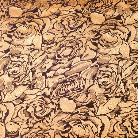 color photography: Fabric silk texture. Rose flowers, gold color. Photography studio Stock Photo