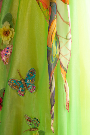 strapless: Texture fabric green yellow red. Ball Gown. Photography Studio